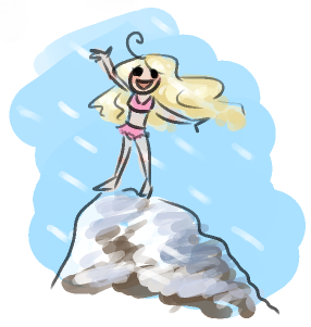 I stand on top of Mount Everest, grinning and wearing a pink bikini. The wind blows back my blond hair as freezing snow flies around me.