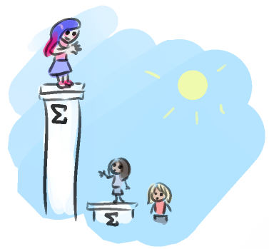 Mary Sue stands on top of an enormous pedestal marked with a sigma. She smiles and waves down at Neva and the hot guy, who stand on much shorter pedestals. Neva, wide-eyed, slowly waves back at her.