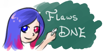 Mary Sue, smiling, writes on a chalkboard. The chalkboard says ''Flaws DNE.''