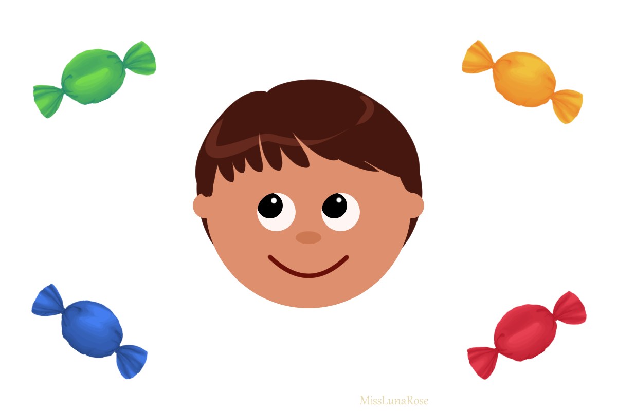 A cartoon drawing of a boy surrounded by 4 candies. He is looking at the green candy.
