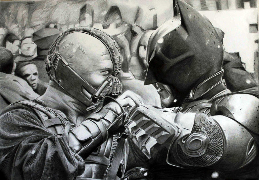Batman versus Bane by donchild