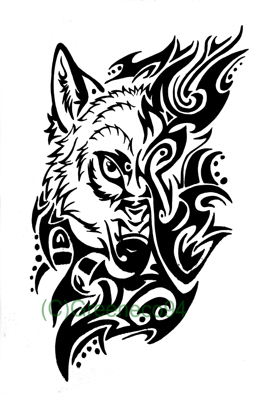 a wolf tribal tattoo by greeneco94 on deviantart. Black Bedroom Furniture Sets. Home Design Ideas