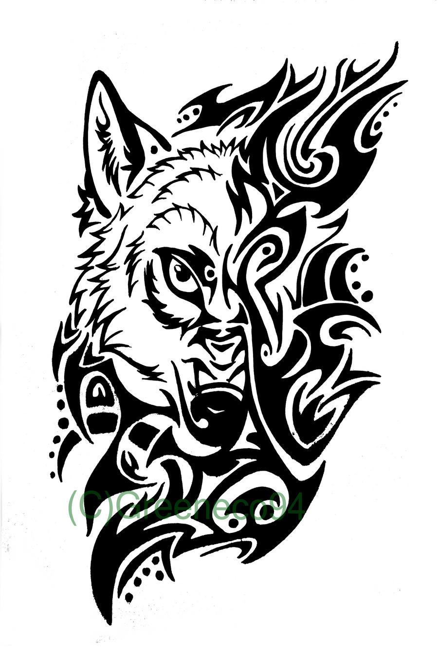A Wolf Tribal Tattoo By GreenEco94 On DeviantArt