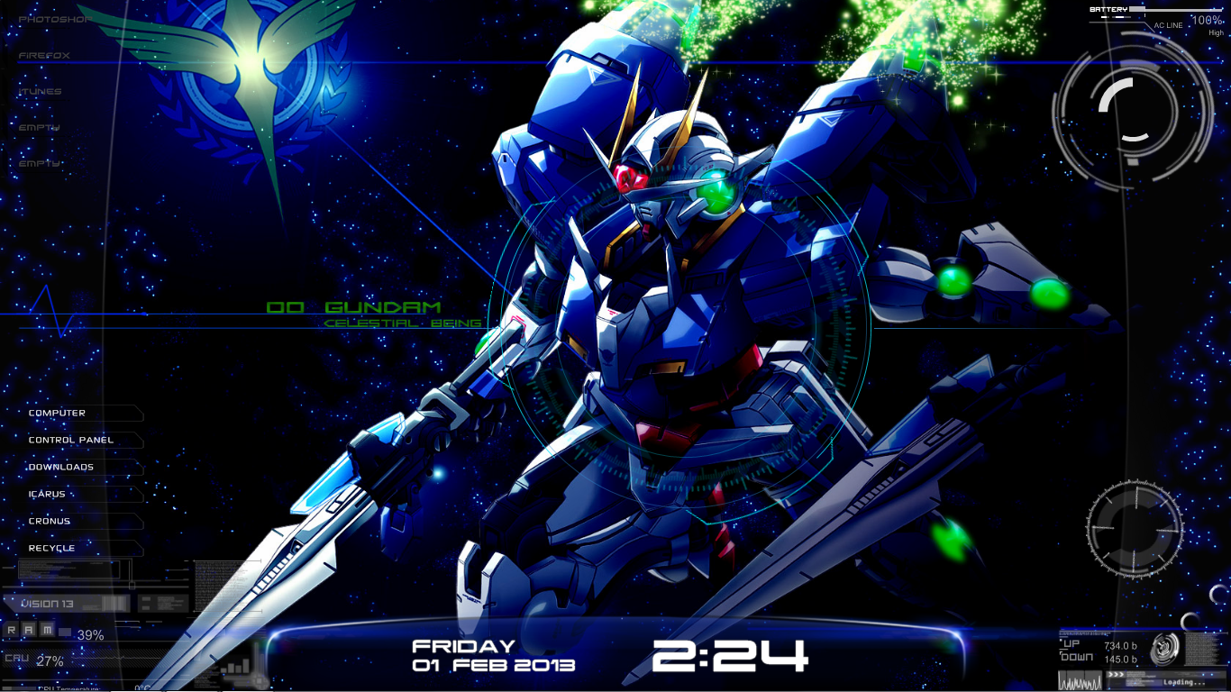 Gundam 00 rainmeter desktop by leventiel on deviantart for Deviantart rainmeter