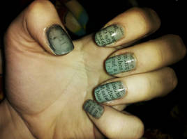 Newsprint nail art by Chelseapoops