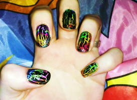 Rainbow Shatter Nails by Chelseapoops