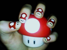 Super Mushroom Nail Art by Chelseapoops