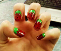 Strawberry Nail Art by Chelseapoops