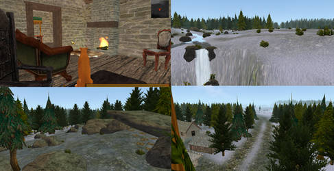 Free map -snowy village and forest