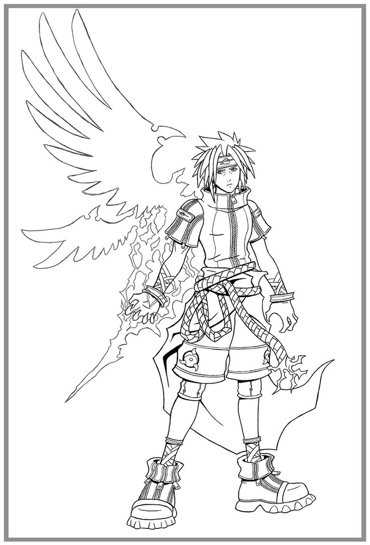 kingdom hearts coloring page - kingdom hearts sasuke lines by arvalis on deviantart