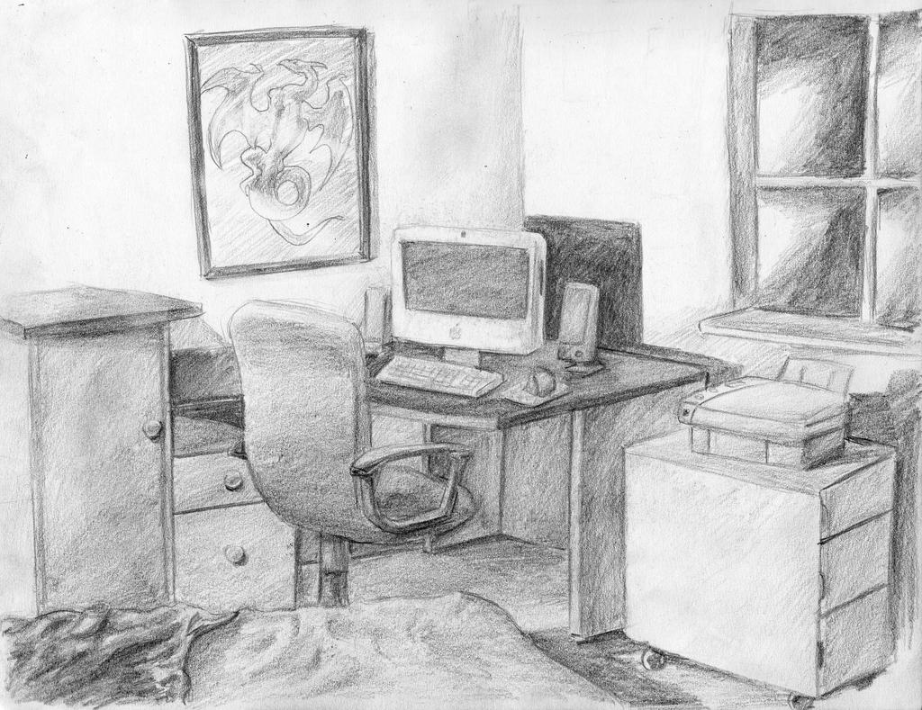 perspective drawing my room by arvalis on deviantart