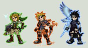 KH Chibis-Link-Naruto-Sasuke