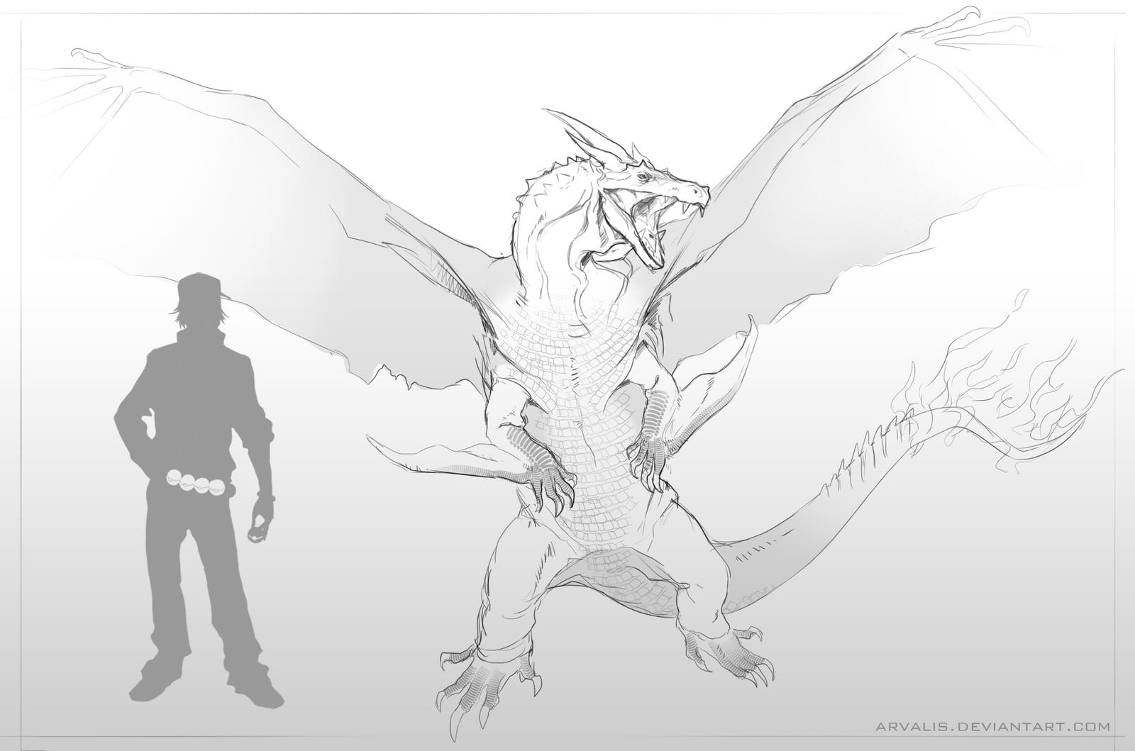 Mega Charizard Y-Sketch by arvalis