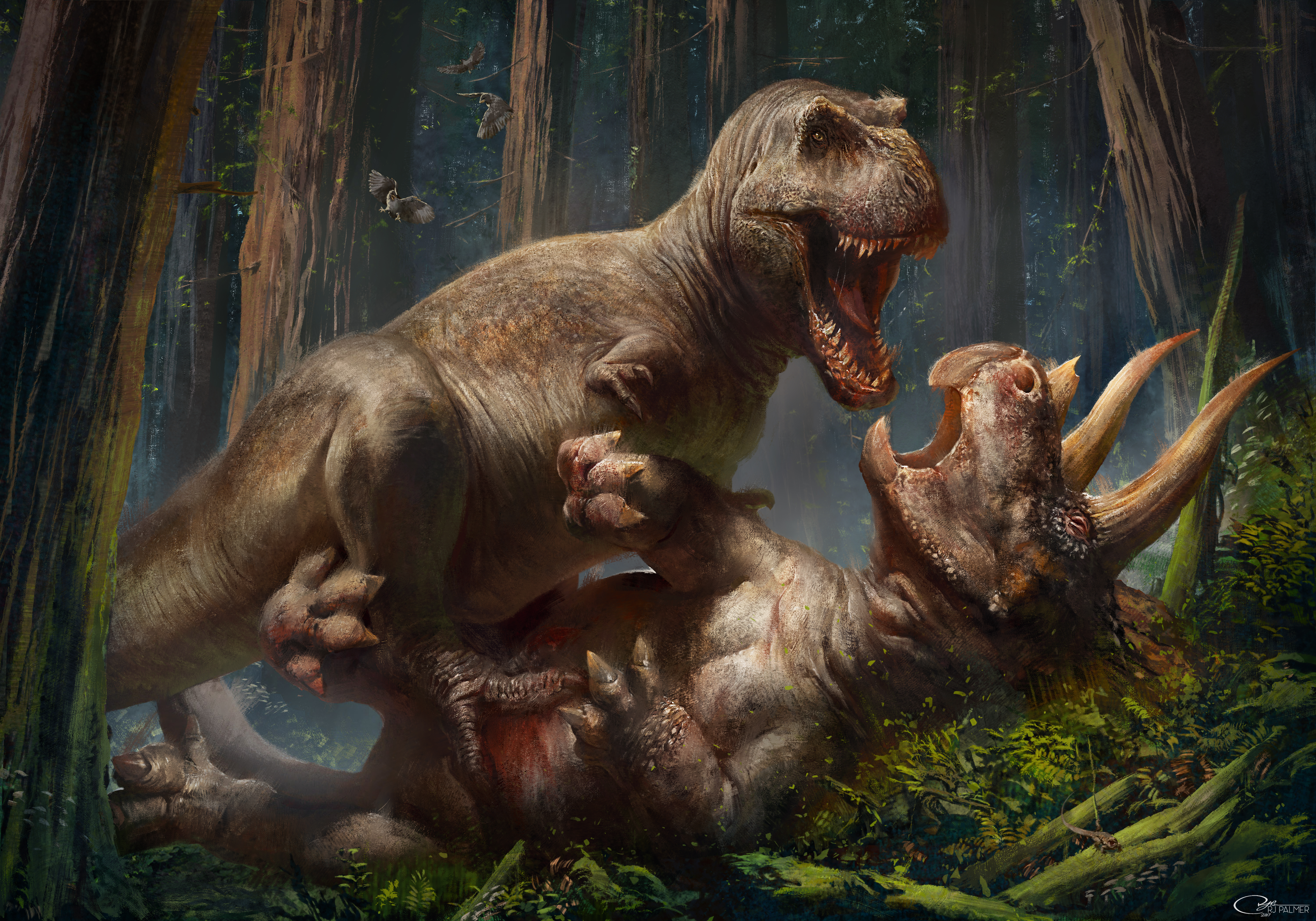 -T. rex vs Triceratops- by arvalis