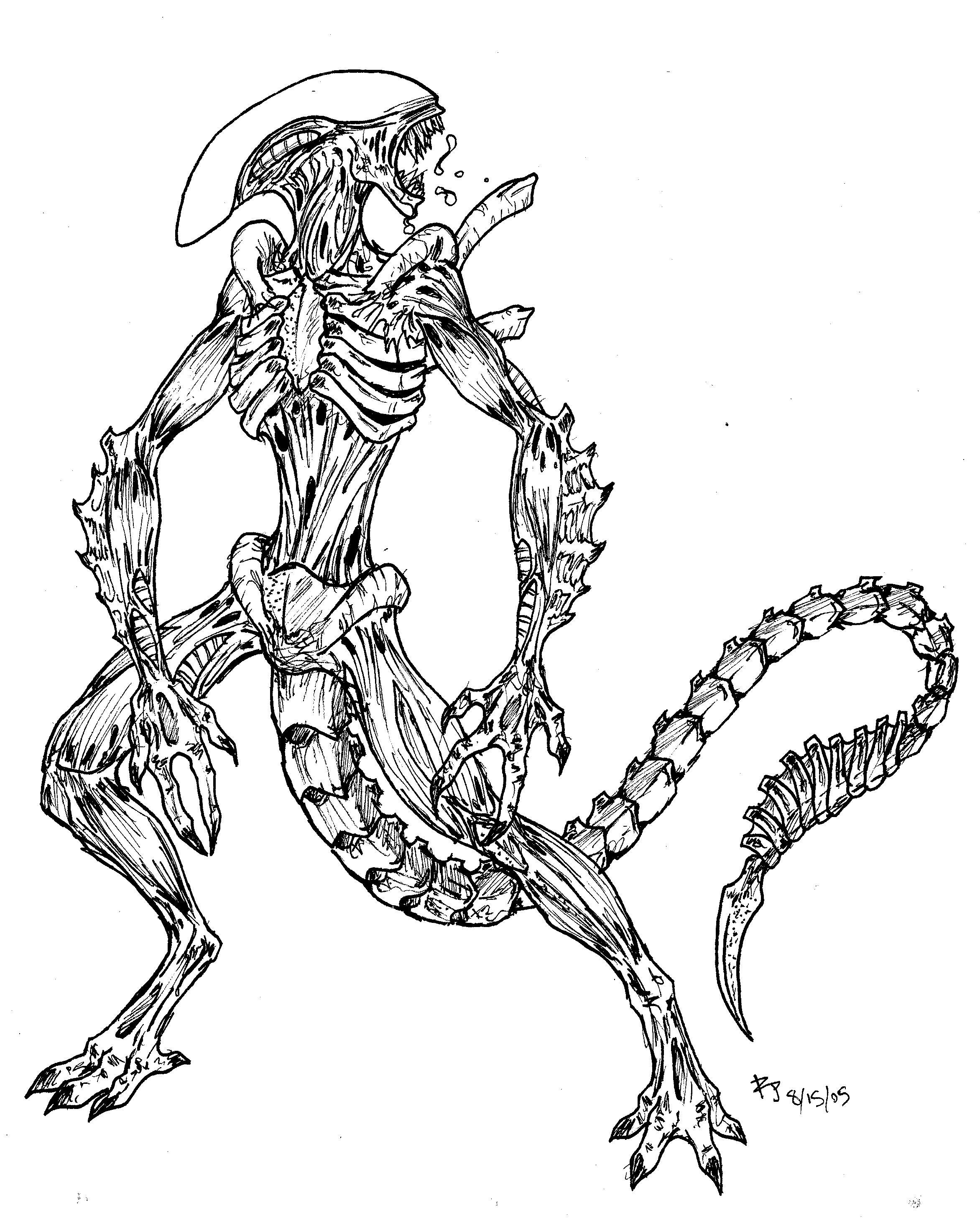 Xenomorph drone by arvalis on deviantart for Xenomorph coloring pages