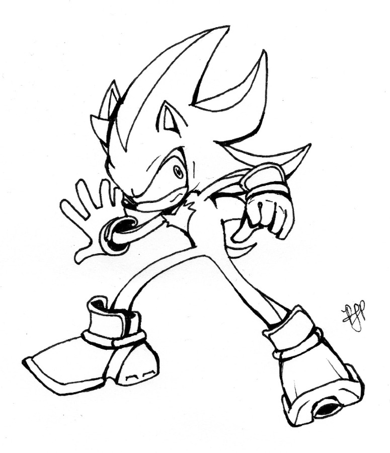 sonic and coloring pages shadow the hedgehog | Shadow the Hedgehog Inks by arvalis on DeviantArt