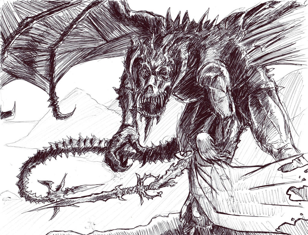 Hunter and the Dragon by arvalis