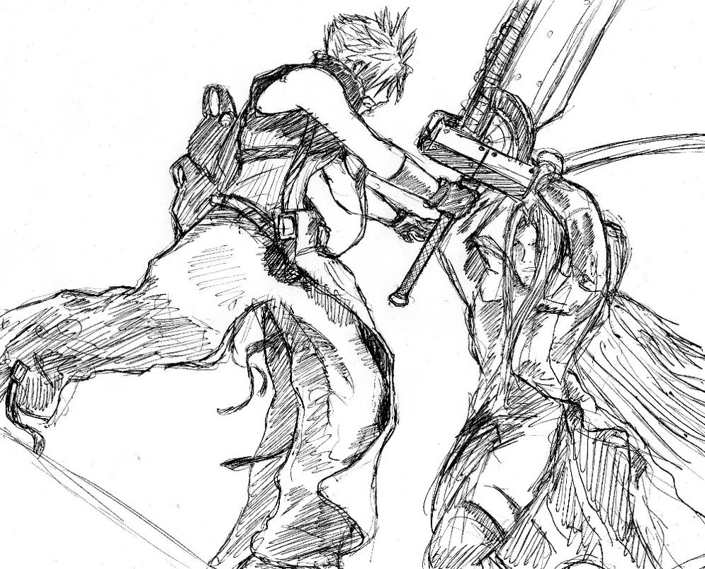 Cloud and Sephiroth 2 by arvalis