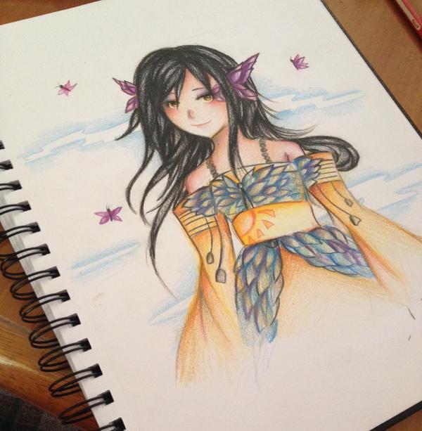 The Butterfly Dress Sketch by Tajii-chan