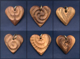 Three Wood Hearts