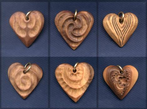 Three Wood Hearts