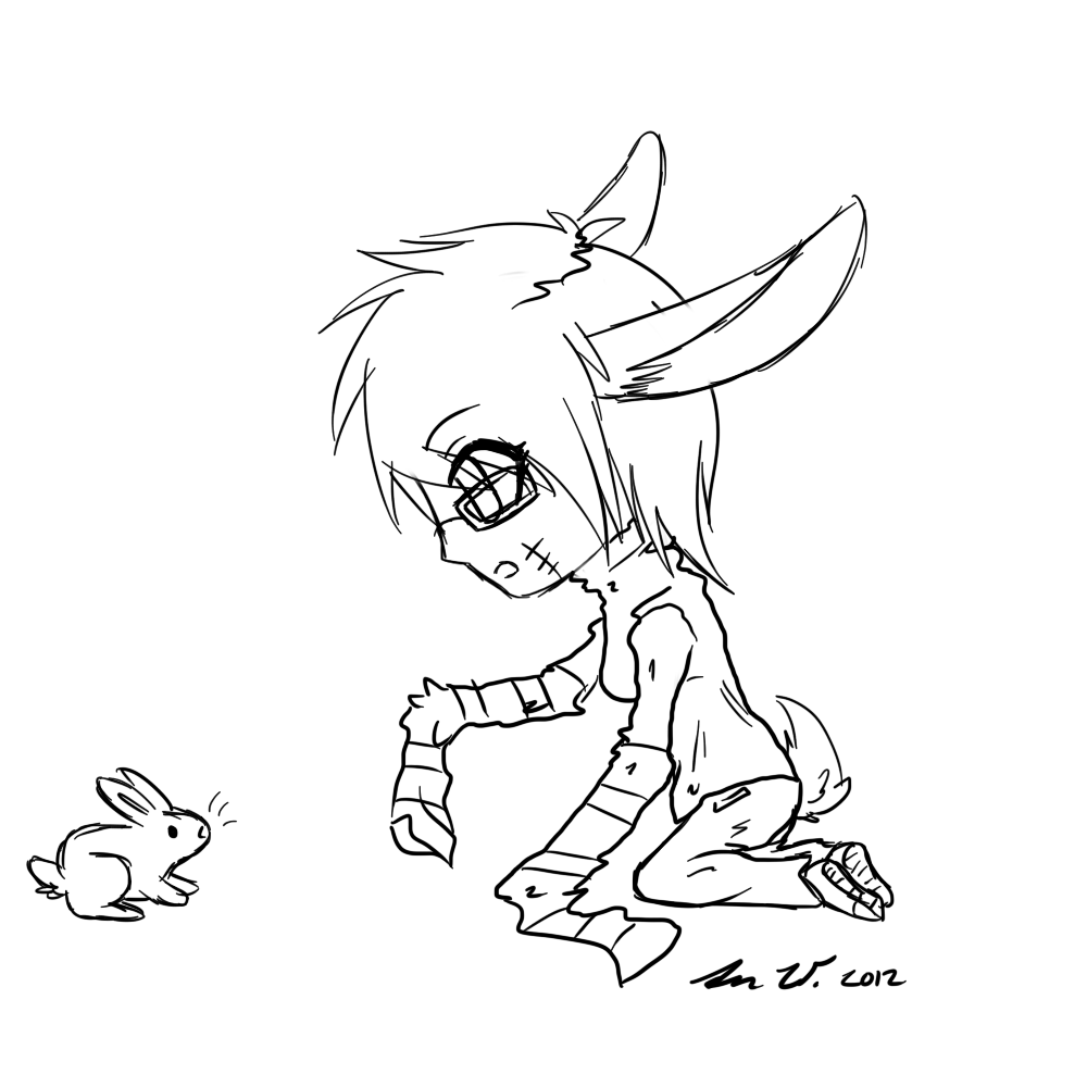 Zombie Bunny Drawing