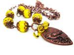 Copper Teardrop Bird Necklace