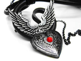 Winged Locket Necklace by pila12903