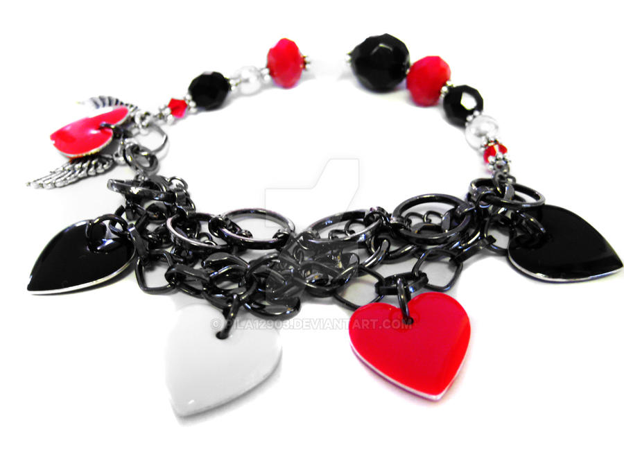 Red black white angel wing charm bracelet by pila12903 for Red black and green jewelry