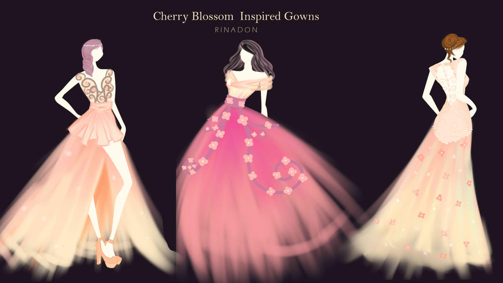 Fashion: Cherry Blossom Inspired Gowns by rinadon on DeviantArt