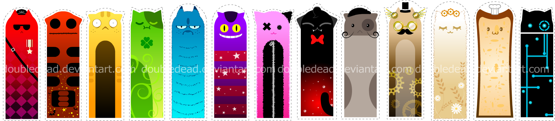 Cool Bookmarks Part - 34: Closer2thelung 160 24 Cat Bookmarks By DoubleDead