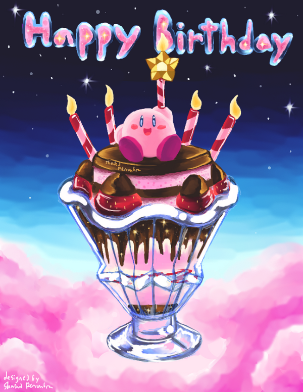 kirby parfait birthday card by shadedpenumbra on deviantart