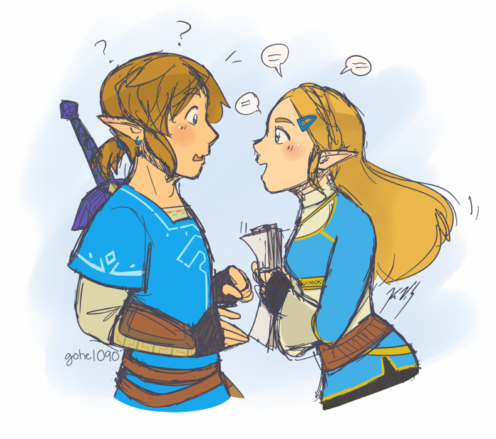 BotW Link and Zelda by gohe1090
