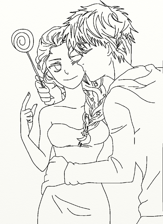 Coloring Pages Of Elsa And Jack Frost. Elsa from Frozen and Jack Frost 2 3  lineart x by SenninArtistModo