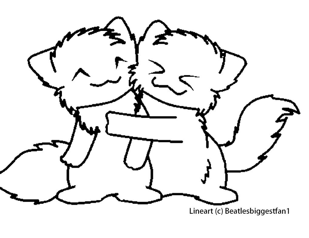 Kitty Hugs Lineart by Sea-LardTwo Best Friends Hugging Drawing