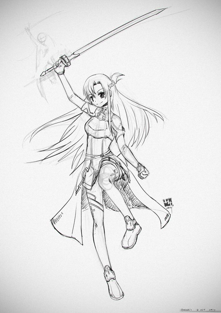 .: Asuna sketch :. by Hikari151