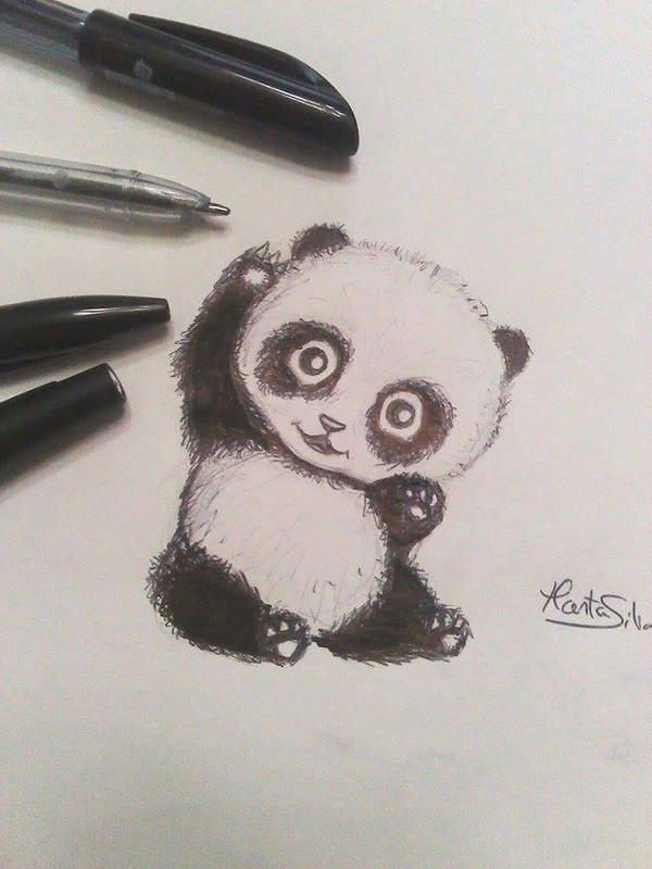 Cute Baby Panda Drawing By M K Arts