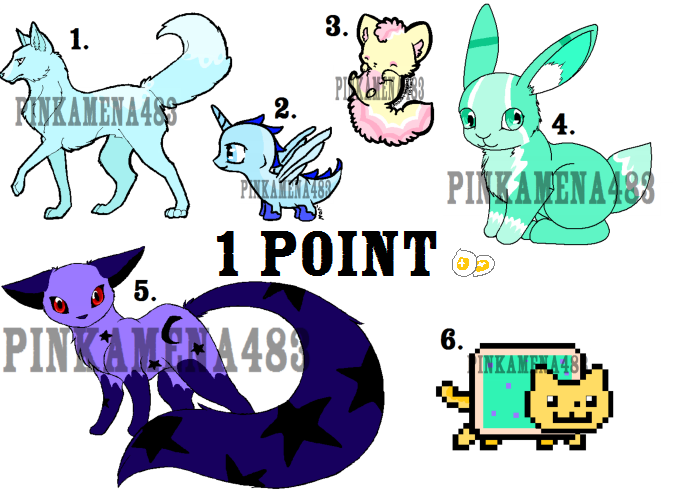 1 Point Adoptables [OPEN] by Pinkamena483