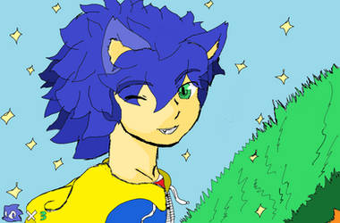 Sonic humanised by Adasse01