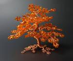 Miniature orange and copper tree of life sculpture