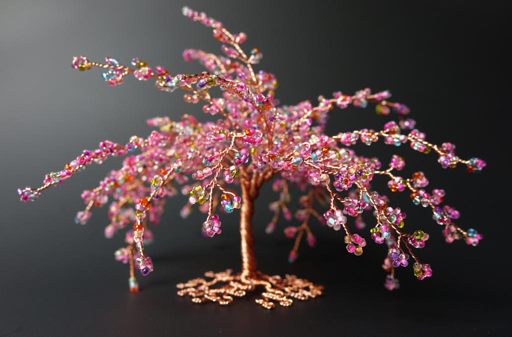 Pink firework miniature tree of life sculpture by Twystedroots