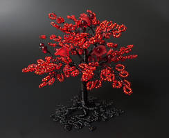 Reds and black miniature tree of life by Twystedroots
