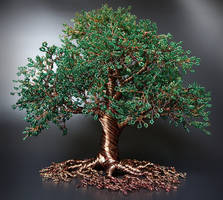 Commissioned bead and wire tree of life sculpture by Twystedroots