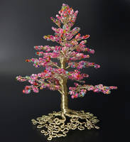 Pink Champagne: bead and wire tree of life by Twystedroots
