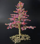 Pink Champagne: bead and wire tree of life