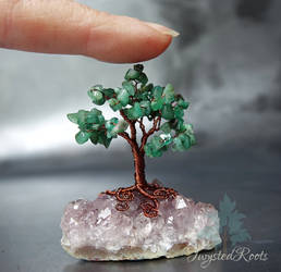 Emerald Tree on amethyst