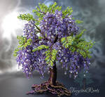 Wisteria bead and wire tree sculpture