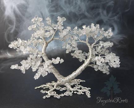 Crystal quartz heart shaped tree sculpture