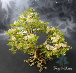 Citrine Spring bead and wire tree sculpture