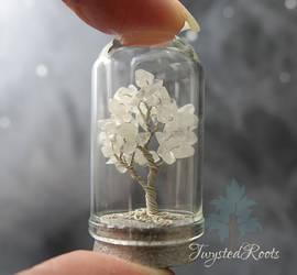 Miniature rainbow moonstone tree